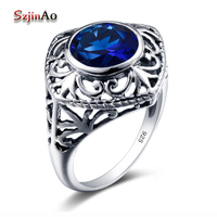 Szjinao Star Design Sappihrel Ring Vintage Turkish Jewelry 925 Sterling Silver Rings For Women Spikes Wedding Decoration
