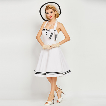 White Dress Girls Halter Solid Vintage Style Dresses  1960s nautical style summer retro bowknot sexy dress Knee-Length Strap day dress