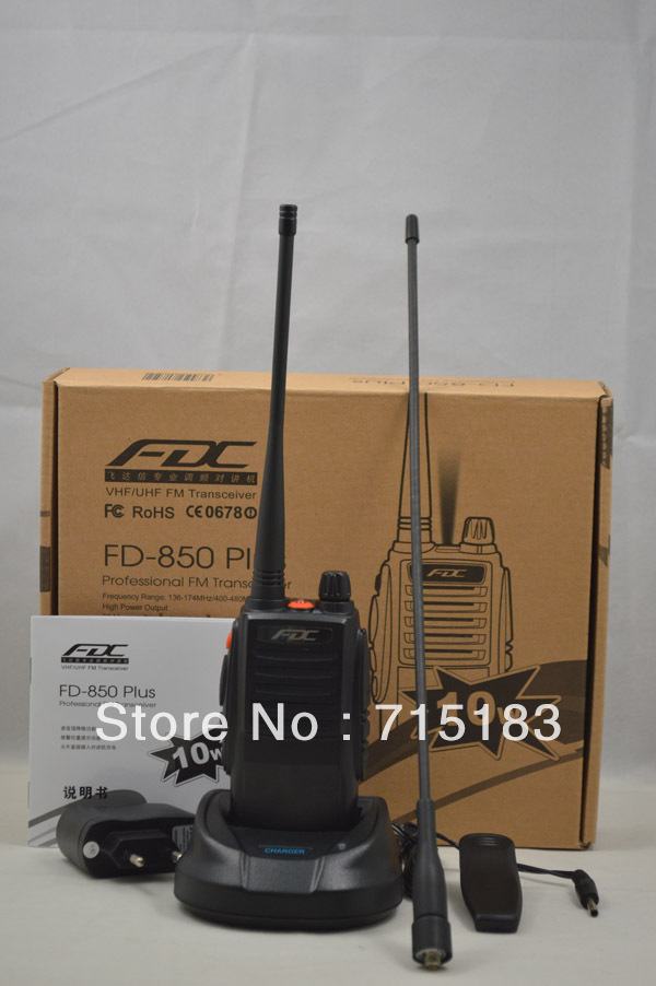 2013 New Arrival FD-850 Plus 10Watt UHF 400-470MHz Professional FM Transceiver Walkie Talkie 10km 10w Waterproof Ham Radio
