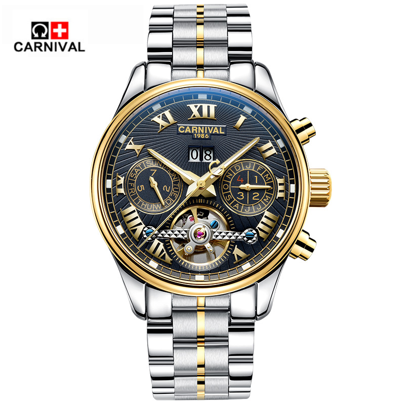 2017 Top 10 Brand Carnival Automatical Mechanical Hand Wrist Watch for Men Sapphire Window relogio masculino-in Mechanical Watches from Watches    1