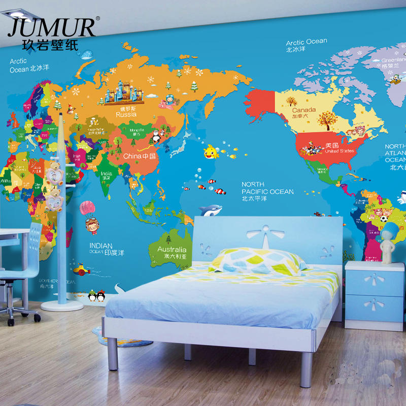 Custom 3d photo children 39 s room seamless large wall mural for Cartoon mural wallpaper