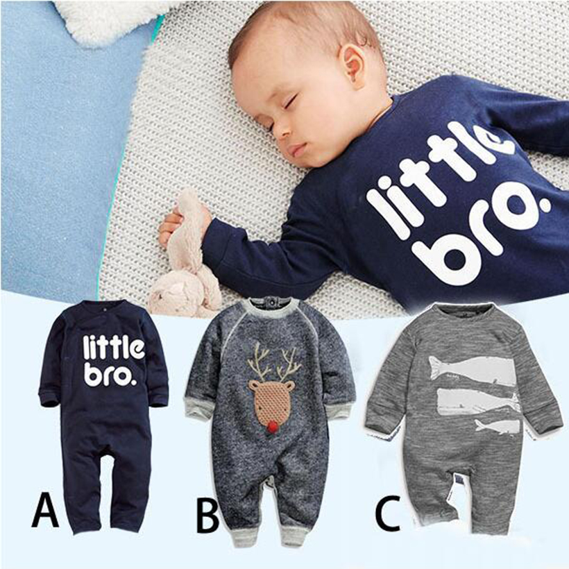 Newborn Baby boy Clothes 2017 Romper infantil Baby Christmas Costumes Long Sleeve Cotton Cartoon Print Letter Rompers Clothing cutelee newborn soft cotton baby romper o neck costumes long sleeve baby girl boy rompers baby clothing ropa next baby jumpsuit