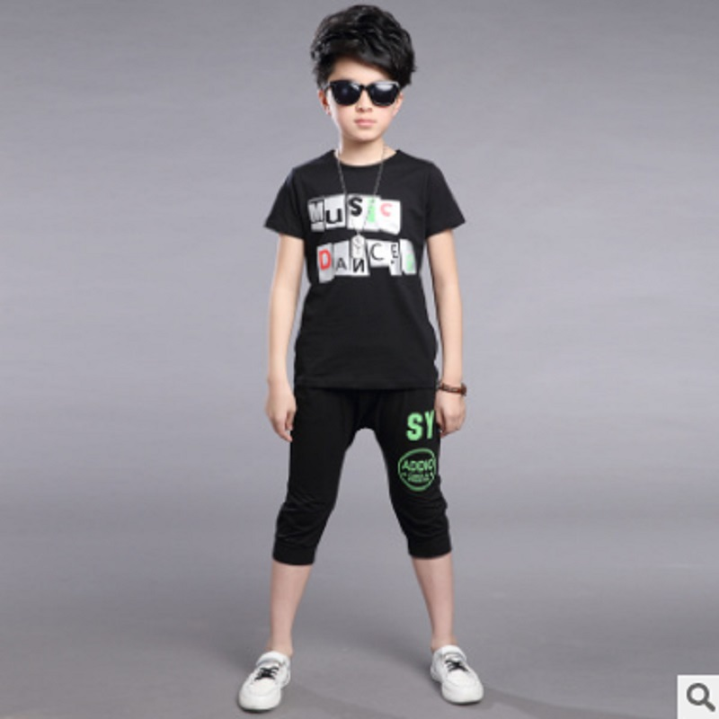 Boys Sports Clothing Sets Spring and Summer 2017 New Kids Leisure Print Letter Clothes Sets Children's 2 Colors ly410 Size6-16