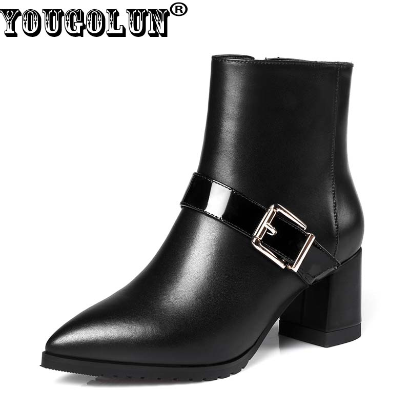 YOUGOLUN Women Ankle Boots 2017 New Autumn Winter Genuine Leather Thick Heel 6 cm High Heels Buckle Pointed toe Shoes #Y-188 hexing electronic 6 x 30 fuses set translucent silver 100 pcs