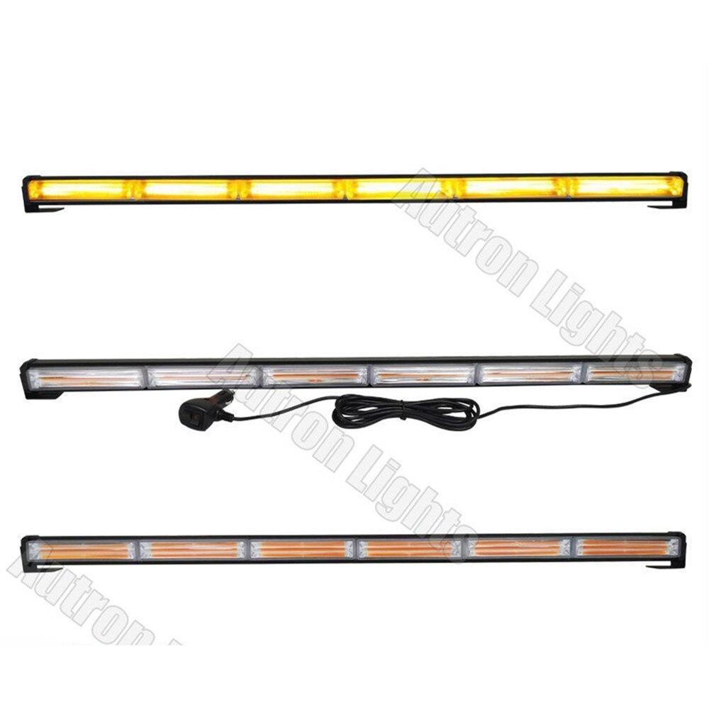 CYAN SOIL BAY 108W 34 35 COB LED EMERGENCY TRAFFIC ADVISOR BEACON LIGHT BAR STROBE AMBER