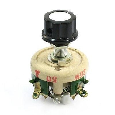 Wirewound Ceramic Potentiometer Top Rotary Rheostat Resistor 25W 50ohm wirewound ceramic potentiometer adjustable rheostat resistor 50w 1r 2r 5r 10r 20r 30r 50r 100r 200r 300r 500r 1kr 2kr 3kr