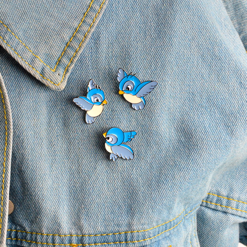 3pcs/set Animal Birds Brooch Set Metal Blue Enamel Pins Button Bag Backpack Shirt Jacket Pin For Women Men Kids Badge Jewelry