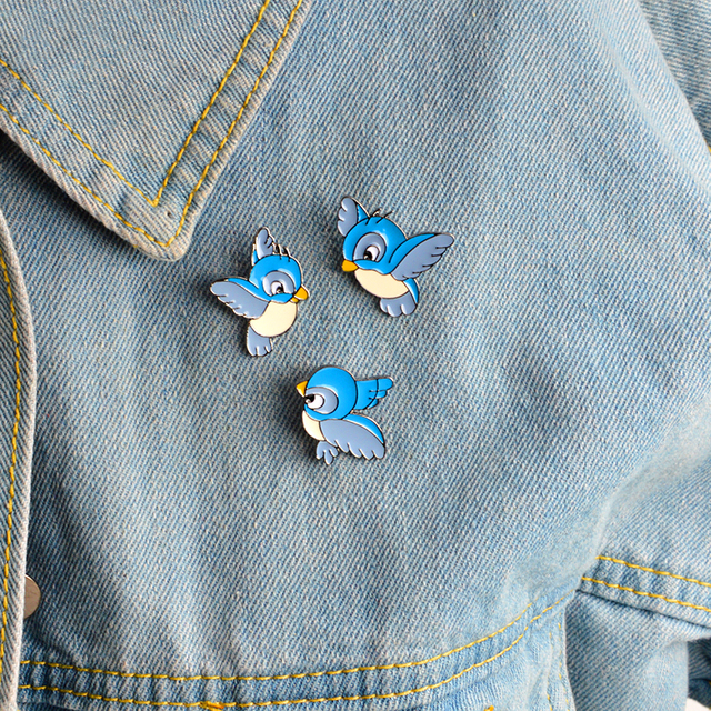 3pcs/set Animal Birds Brooch set Metal Blue Enamel Pins Button Bag Backpack Shir