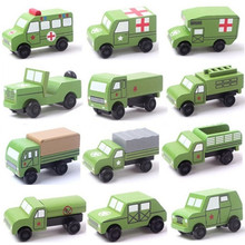 12 PCS/ Set Wooden Military Vehicle Model Cool Toys Educational Baby Kids Boy Toys Cars Gifts Simulate Mini Medical Diecasts
