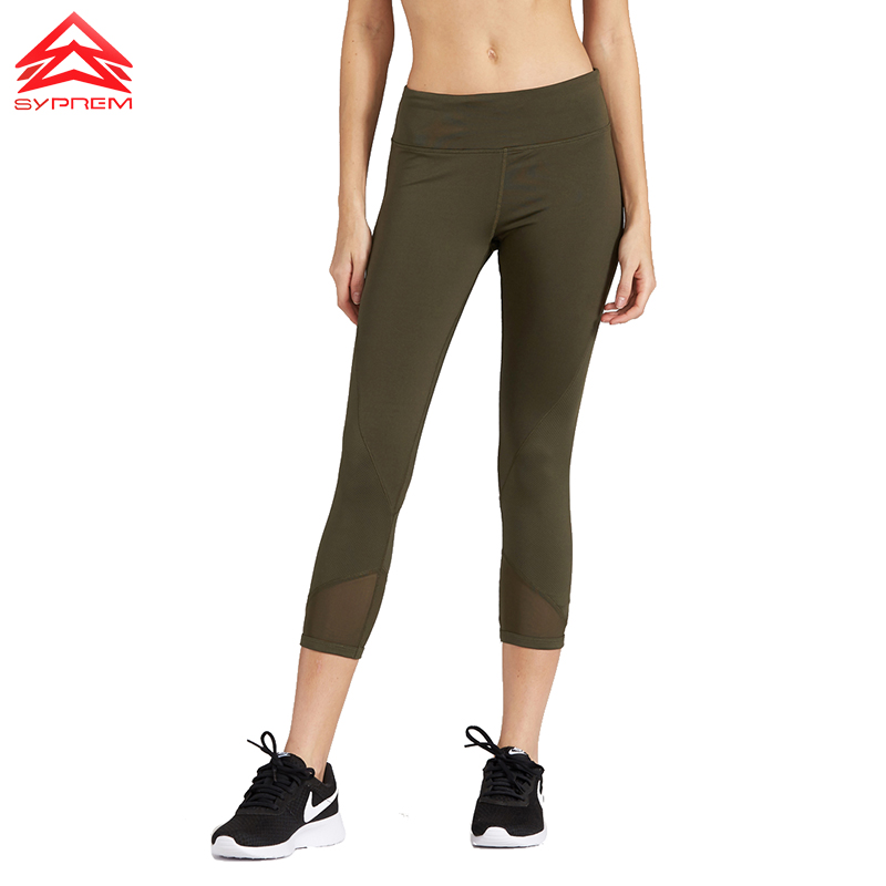 Syprem Yoga sports pants New Running Gym trousers women Fitness Quick Dry Elastic compression half-rising posture legging,1FP601