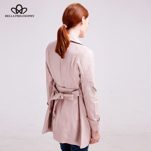 Bella Philosophy 2018 Autumn Winter Basic Coat Jacket Long Sleeve Casual Zipper coat Women Female Fashion Sashes PU Coat