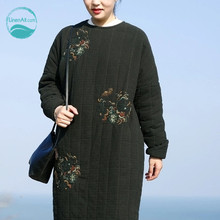 LinenAll clothing original design women's gown winter embroidery medium-long national wadded jacket thick parkas outerwear muyi