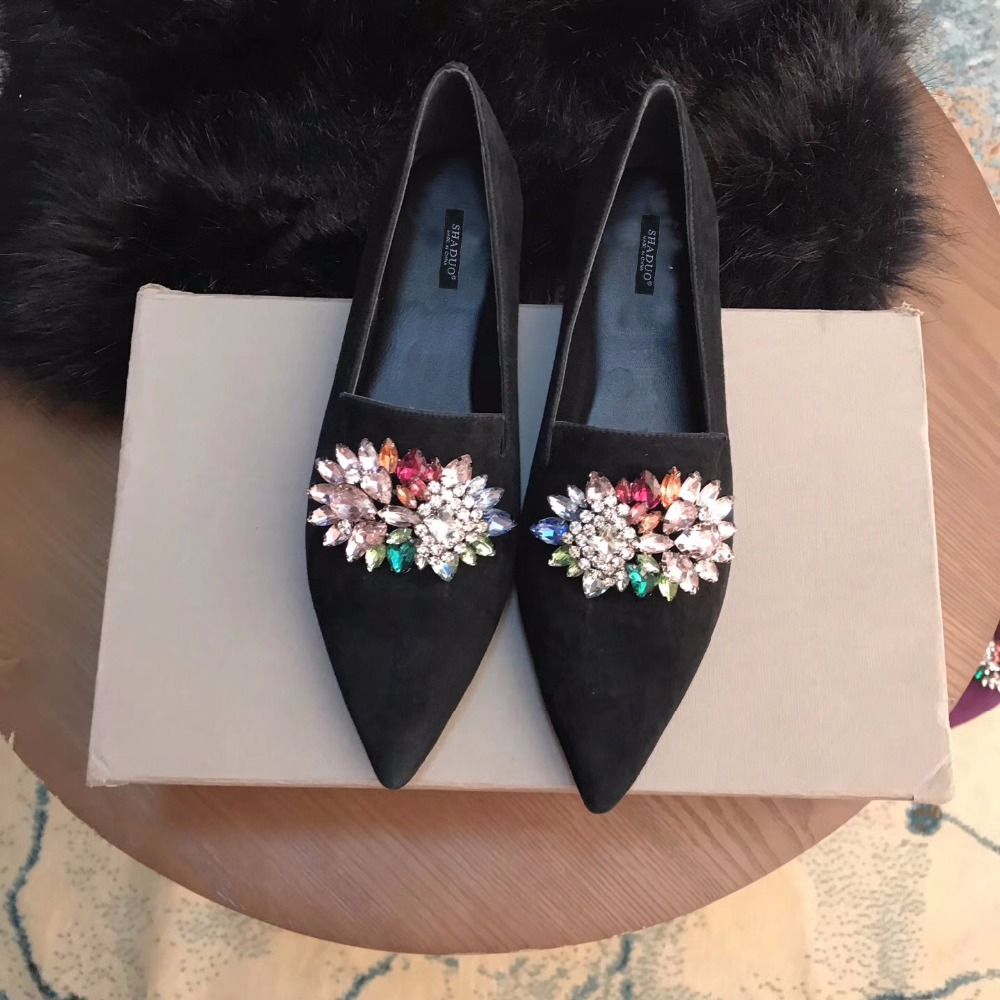 2018 shaduo women bling bling flats glitter shoes slip on lazy flats swarovski crystal decoration loafers point toe casual shoes women flats shoes woman spring glitter casual loafers black golden bling glitter flats lazy shoes size 36 40