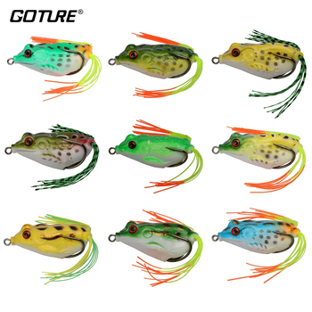 Goture 9pcs/lot Topwater Fishing Lures Frog Soft Lure Wobblers Silicone Isca Artificial Bait For Fishing 5.5cm/12.1g
