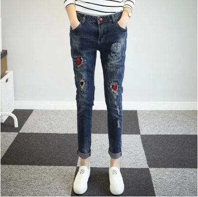 2016 pencil pants harem pants women with jeans with embroidery vaqueros mujer jean femme