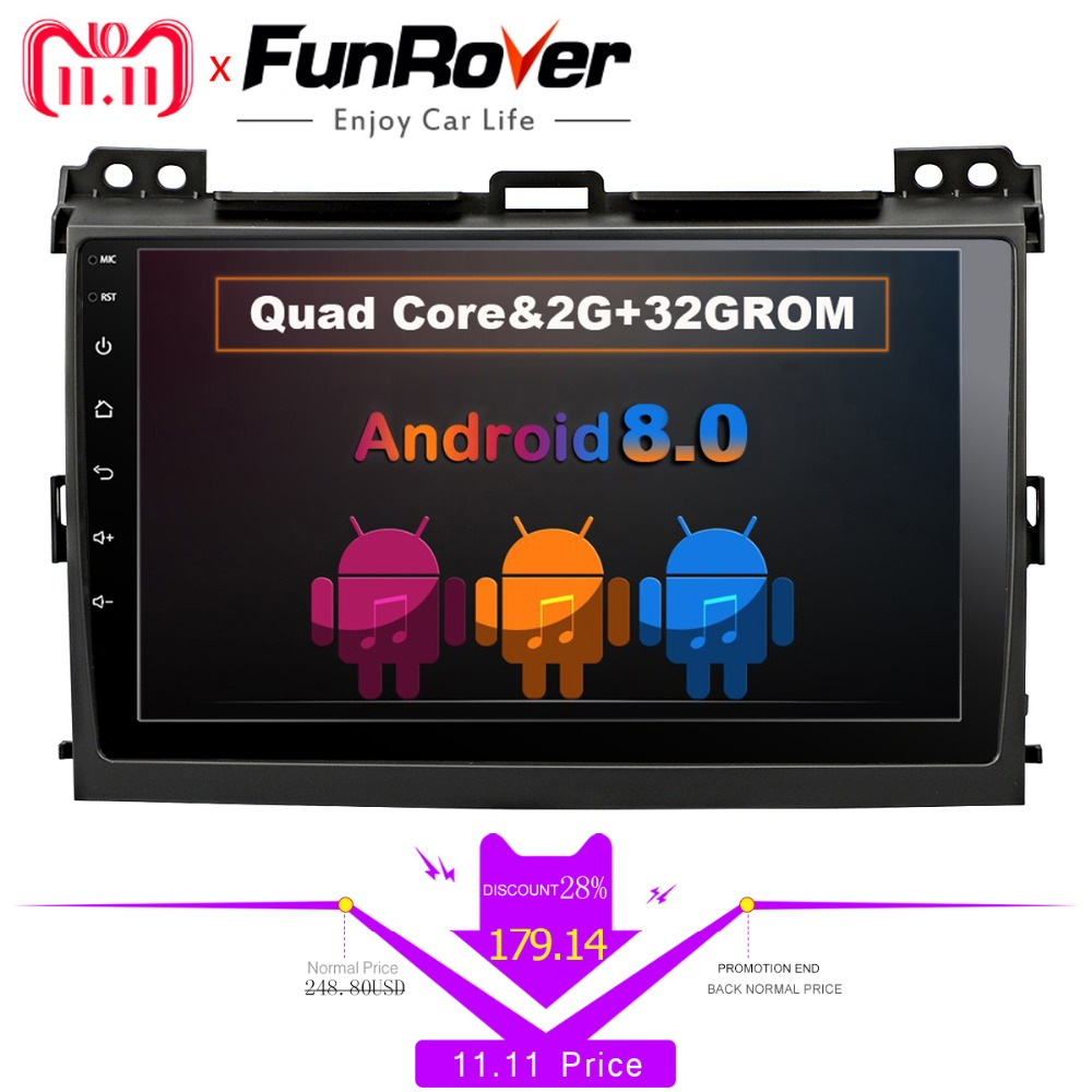 Funrover android 8.0 Car DVD Player for Toyota Prado 120 Land Cruiser 2004-2009 2din Car Radio GPS Navigation Multimedia Player silverstrong 2din ips dsp android7 1 gps car radio for toyota prado 120 for lexus gx470 car gps land cruiser prado 120 ips dsp