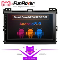 Funrover android 8,0 dvd плеер автомобиля для Toyota Prado 120 Land Cruiser 2009 2004 2din автомобильный Радио gps навигация мультимедийный плеер