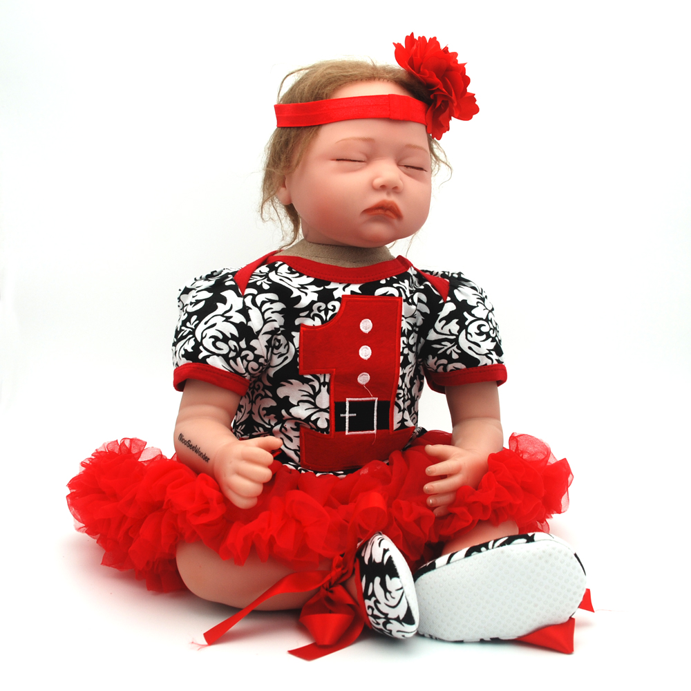 NicoSeeWonder 22Inch Boneca Bebe Reborn Baby Dolls 55cm Lifelike Silicone Reborn Toddler With Gray Red Skirt Clothes For Gift short curl hair lifelike reborn toddler dolls with 20inch baby doll clothes hot welcome lifelike baby dolls for children as gift