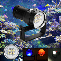 Diving Flashlight Light Torch Photography 100M Underwater 4x Red+4x purple LED Safety & Survival Z1030