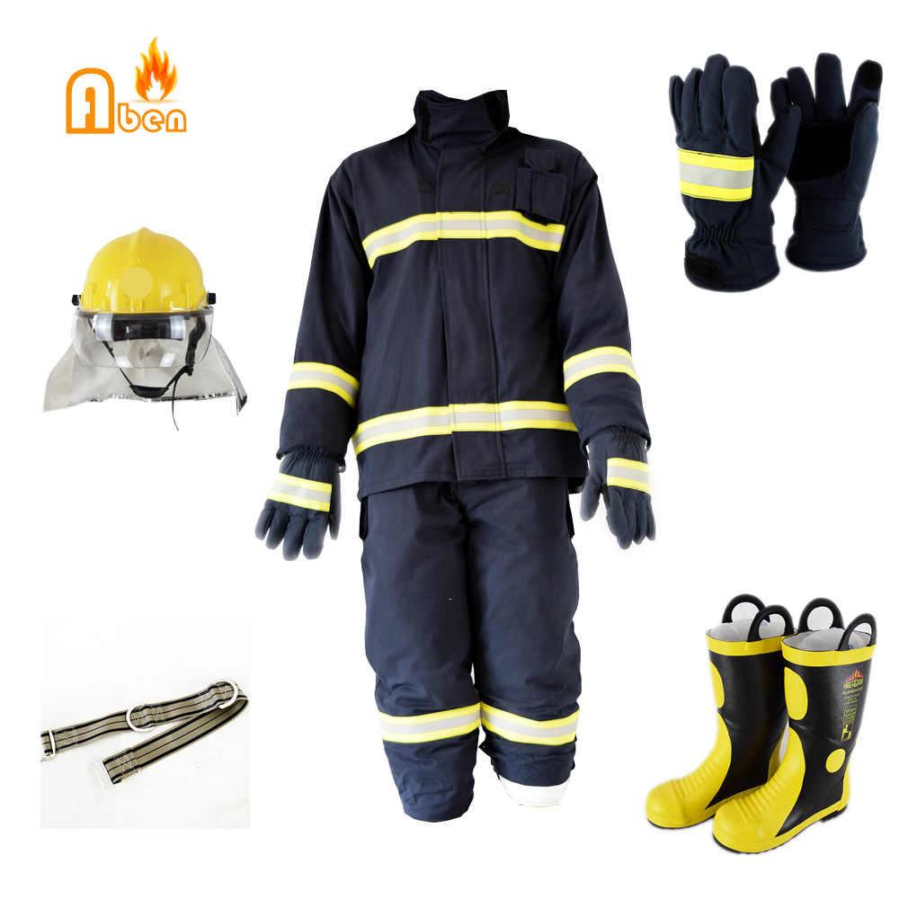 Продажа в качестве одного комплекта (включая пожарный шлем перчатки ремень Сапоги) пожаротушения пожарный защитный костюм