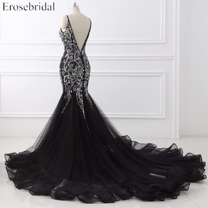 Image 3 - Sexy Mermaid crystal Sequined Evening Dress Deep Backless V Neck Sleeveless  Open Back Court Train Formal Party Dress YY0011