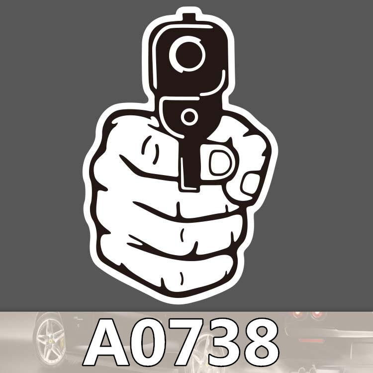 Bevle A0738 Surrender Gun Waterproof Sticker Notebook Phone Laptop Skateboard Fridge Graffiti Cartoon Stickers
