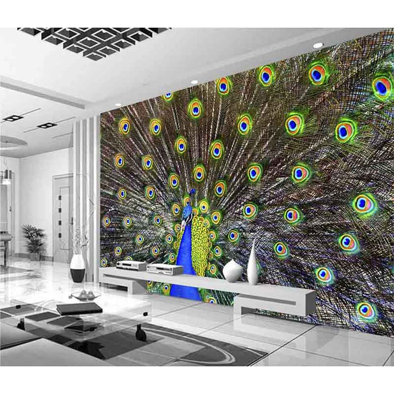 Custom 3D Murals Waterproof Wallpaper Beautiful Peacock Wall Paper For Living Room TV Background No Smell Home Decora 513
