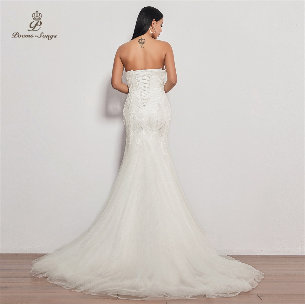 Image 4 - PoemsSongs  2019 new wedding dress strapless vestidos de novia wedding gown mermaid bridal dress sexy robe de mariee women-in Wedding Dresses from Weddings & Events