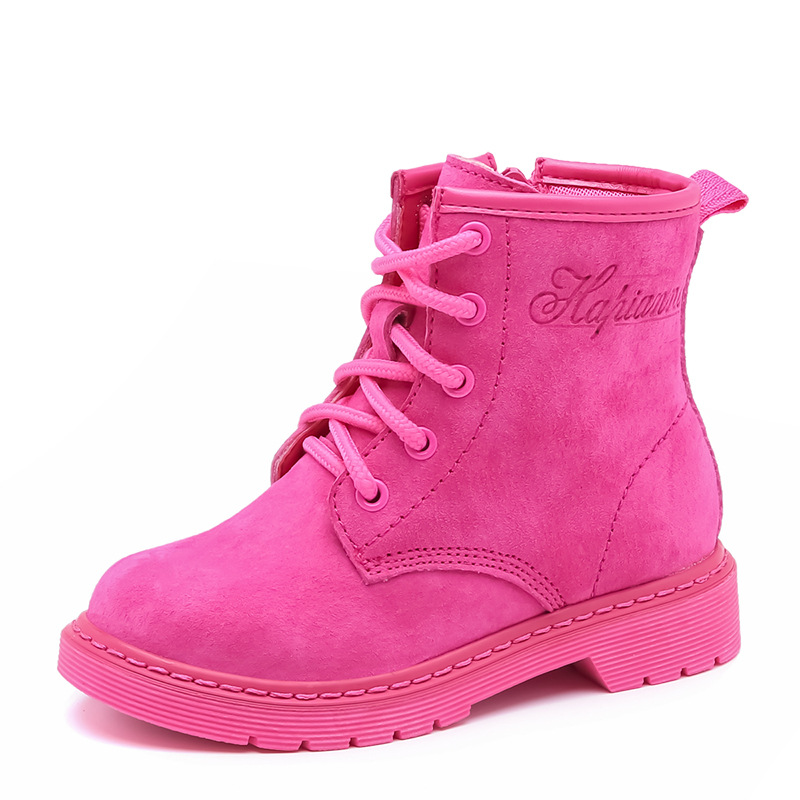 Genuine Leather Children Boots Girls Martin Boots 2017 New Autumn Winter Boys Ankle Boots Snow Waterproof Shoes Kids 20 2014 new autumn and winter children s shoes ankle boots leather single boots bow princess boys and girls shoes y 451