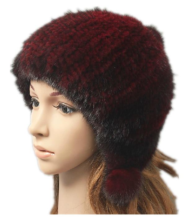 luxury fur hat natural mink hair autumn winter cap with fur pom knitted genuine fur hat women H910 стоимость