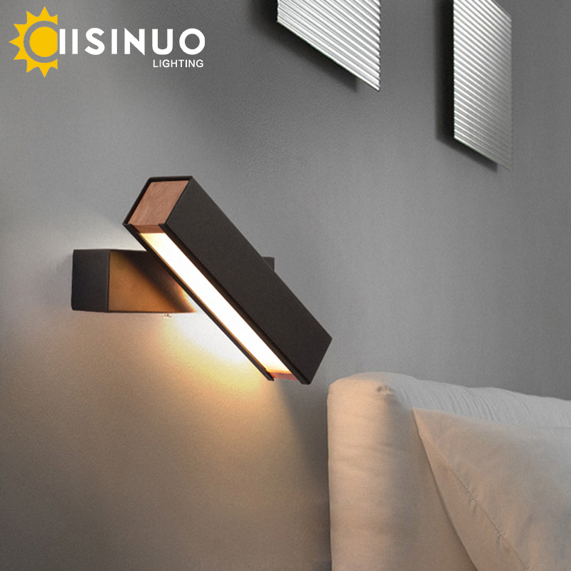 Nordic Bedroom Bedside Wall Lamp Solid Wood Aisle baby feeding Creative Rotating Light Reading LED energy-saving lamp decoration solid wood wall light bedroom lamp bedside lamp modern minimalist aisle corridor entrance staircase wall sconce