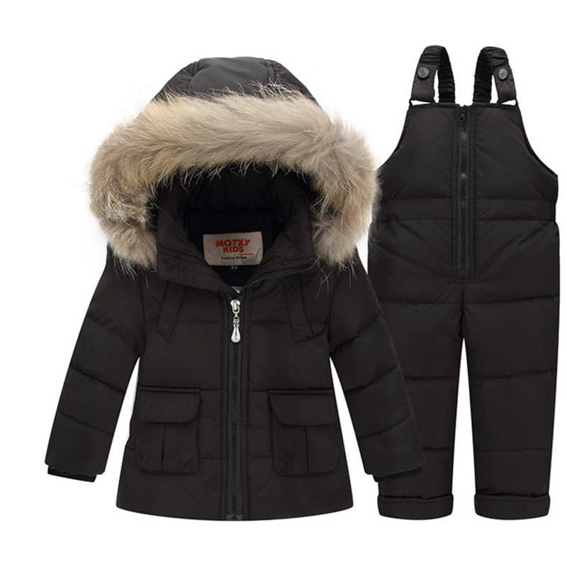 2017 Baby Kids 90% White Duck Down Clothing Sets Children Winter Warm Set Boys Girls Soild Color Jacket+Overalls Pants 2PC Suit russian winter boys girls clothing white duck down sets snow warm down jacket down trousers suit children hooded 2pcs suit