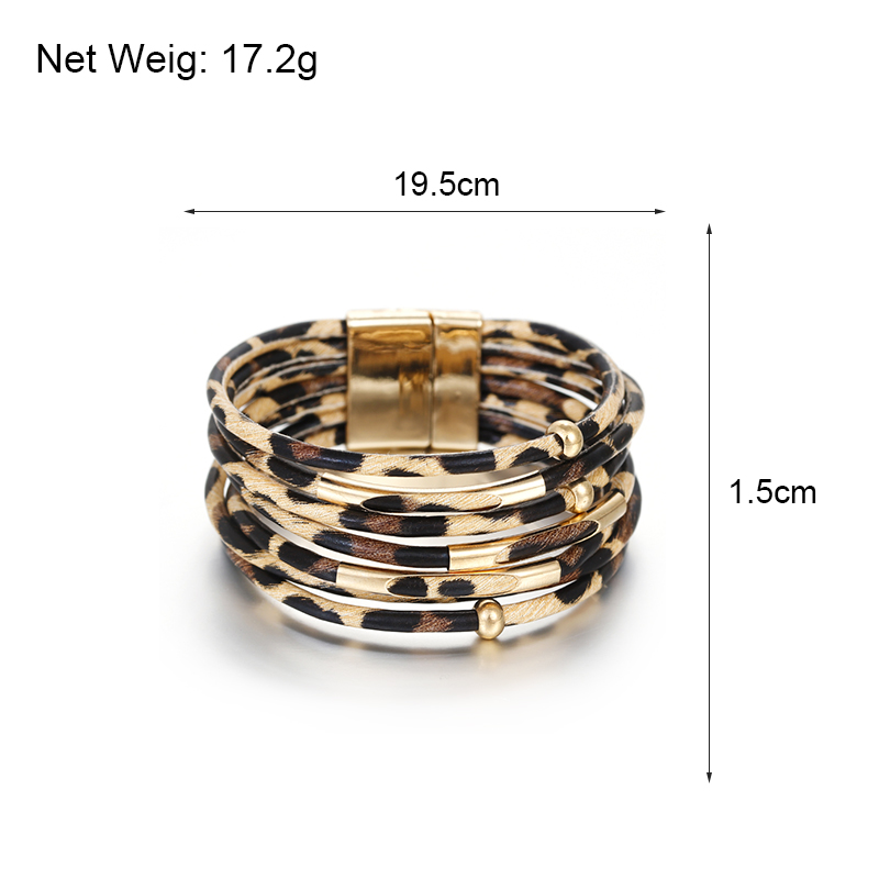 HTB1euuhMVzqK1RjSZFvq6AB7VXaB - Amorcome Leopard Leather Bracelets for Women Fashion Bracelets & Bangles Elegant Multilayer Wide Wrap Bracelet Jewelry