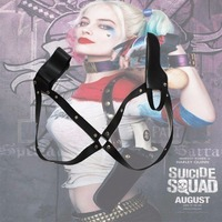 Suicide Squad Harley Quinn Joker Costume Accessories Leather Gun Holster Outfit Halloween Costumes Trops Belt Gun Holster
