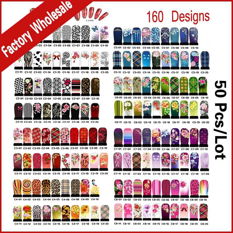 Fashion Designs Hot Water Transfer Nail Stickers 50sheets Full Cover Flowers Bow Foils Polish DIY Nail Beauty Decals Decoration
