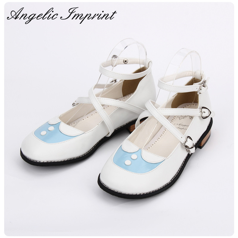 Japanese Dolly Lolita Shoes Kawaii Girls Criss Cross Low Heel Ankle Strap Shoes Sweet Princess Girl Shoes new arrivals pale pink shiny leather kawaii rabbit ankle strap sweet lolita shoes 5 5cm heel pumps