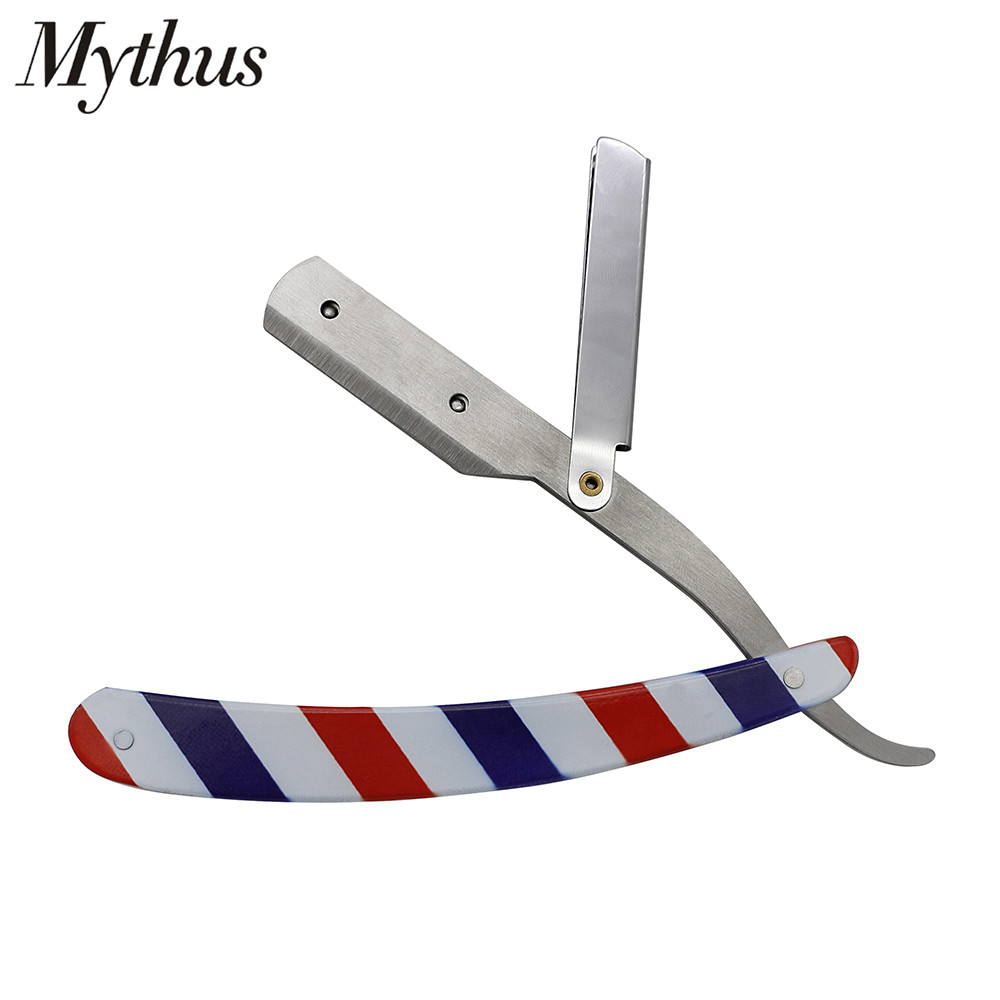 Mythus Folding Safety Straight Edge Shaving Razor Holder Barbershop Hair Shaver Men's Beard Shaving Steel Blades Barber Razor