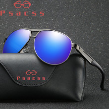 Psacss Classic Pilot Polarized Sunglasses Men Vintage Metal Frame Retro Brand Designer Male Fashion Driving Sun Glasses UV400