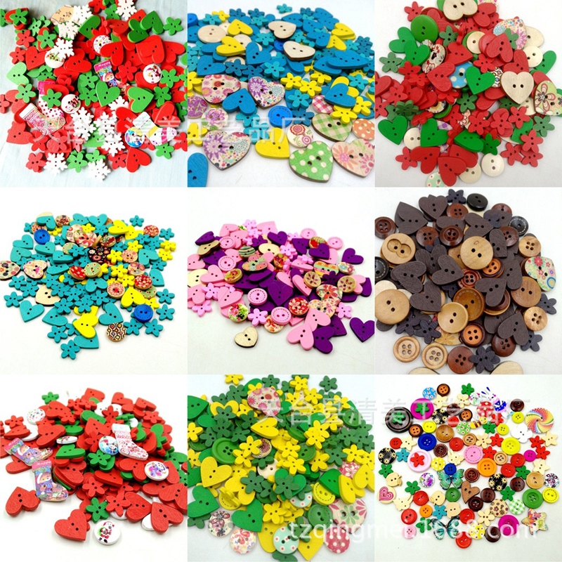 100pcs/lot DIY Art Craft Toys Wooden Buttons Heart Flower Shaped 2-Hole Wood Buttons Educational Toys For Children Birthday Gift