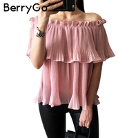 BerryGo Ruffle Off Shoulder Chiffon Blouse Shirt Summer Beach Loose White Bluasa Casual Pleated Short Sleeve