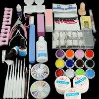 36 W Lampada (opzionale) 12 Colori UV GEL + clear pennelli Nail False Finger Cutter clearnser più di Arte Del Chiodo Tool Kit Set