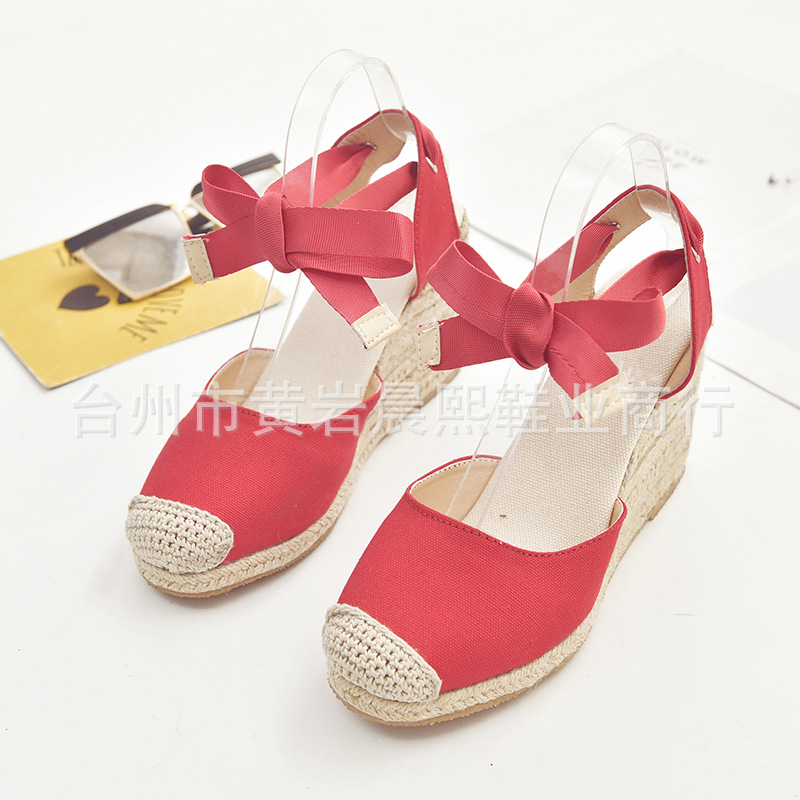 Women's Espadrille Ankle Strap Sandals Comfortable Slippers Ladies Womens Casual Shoes Breathable Flax Hemp Canvas Pumps