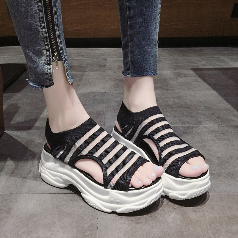 Elastic Belt Sports Sandals Summer New Women's Shoes Women's Thick Bottom Fish Mouth Mesh Sandals Stretch Fabric Beach shoes 31