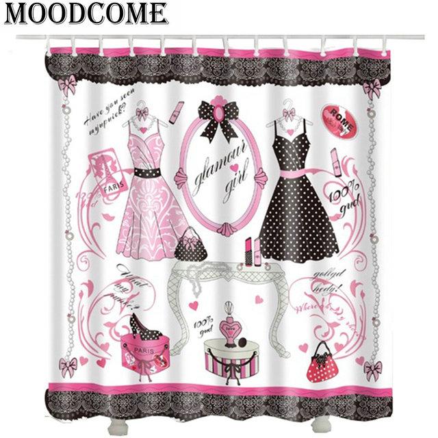 Makeup Dress Shoes Handbag Necklace Shower Curtain Mirror Desk Lipstick  Perfume Bath Curtain Woman Girl Love