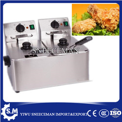 8L double cylinder electric fryer french fries chicken electric frying pan stainless steel deep fryer machine