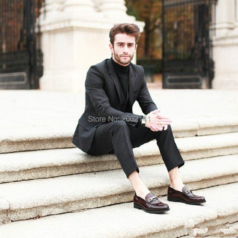 vintage dark gray costume homme british style men suit 3 pieces jacket vest pants wedding suit. Black Bedroom Furniture Sets. Home Design Ideas