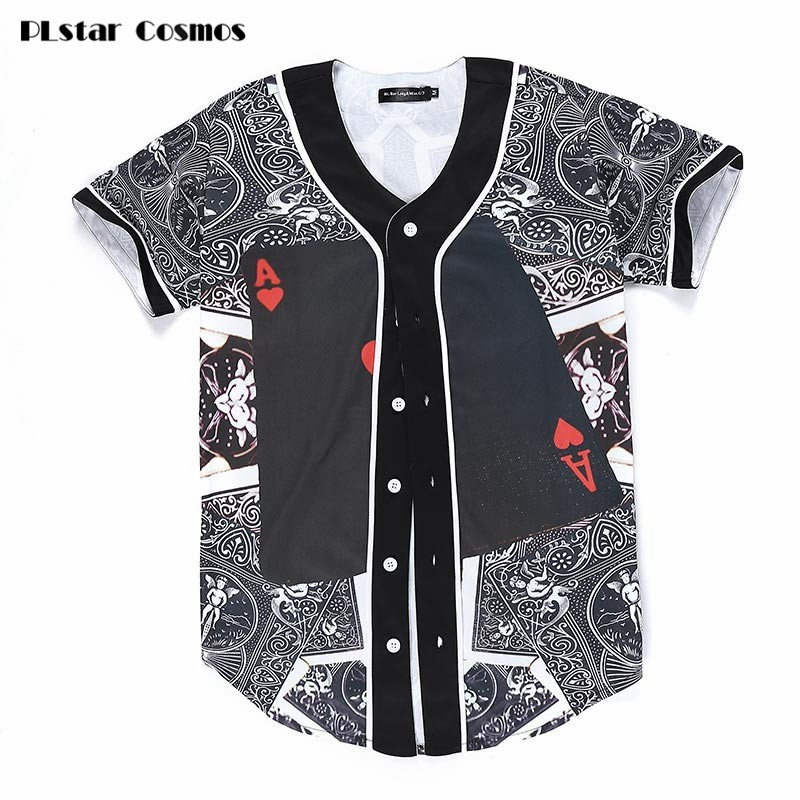 PLstar Cosmos 2018 New Fashion Men Women 3D T-shirt Funny Print Poker Red Hearts A Summer Tops Tees Jersey Button Shirts tshirt