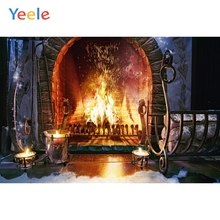 Yeele Merry Christmas Party Fireplace Fire Tree Indoor Baby Photo Background Custom Vinyl Photography Backdrop For Studio