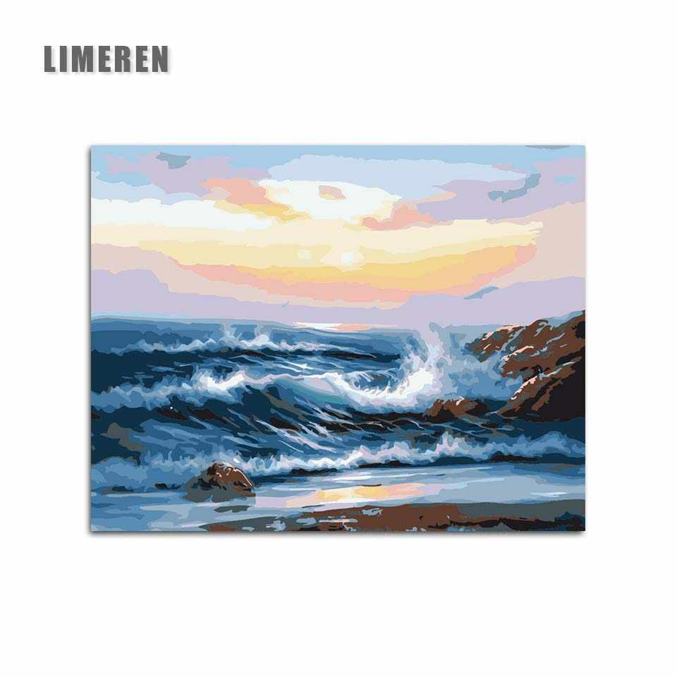 Diy Pictures By Numbers Modular Canvas Oil Painting For Living Room Sea Sunset Coloring By Number Hand Painted Wall Art
