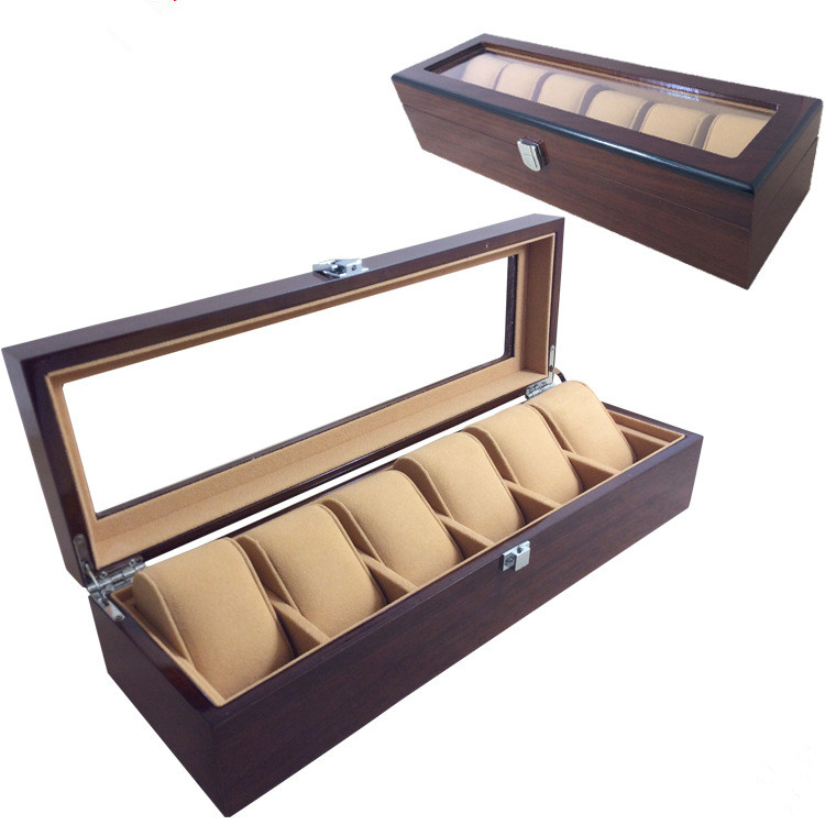 compare prices on wood watch boxes online shopping buy low price wood watch box for men women 6 slots luxury design display case large holder metal buckle caixa organizadora wbg1001